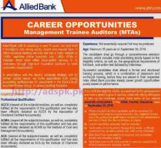 latest govt jobs in lahore karachi islamabad we new career excellent jobs allied bank jobs for management trainee auditors mtas eligibility acca