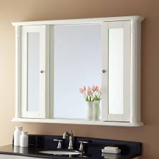 sliding bathroom mirror: pretentious white mirror cabinet bathroom with sliding door