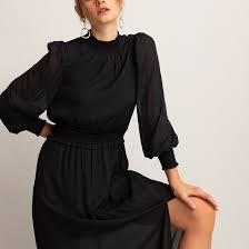 <b>Платье длинное</b> с <b>длинными</b> рукавами черный <b>La Redoute</b> ...