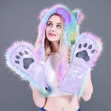 Animal Cap <b>2018 Winter New Women</b> Fashion Colorful Striped ...