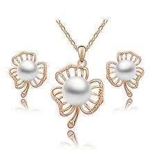 High quality <b>crystal</b> jewelry set <b>Pearl</b> earrings Korean <b>clover flower</b> ...
