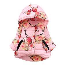Baywell Toddle Winter Coat, <b>Girl's</b> Fashionable Rose <b>Flower</b> Printed