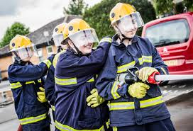 cadets cheshire fire cadets using a hose