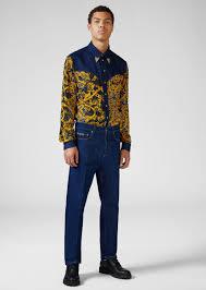 <b>Versace Jeans</b> Couture Heritage Gold <b>Metal</b> Hardware <b>Jeans</b> for <b>Men</b>