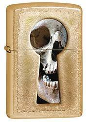 <b>Зажигалка ZIPPO Keyhole</b> Skull, латунь с покрытием Gold Dust ...