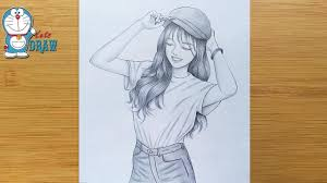 How to draw a smiley face    A <b>girl</b> with cap drawing    pencil sketch ...