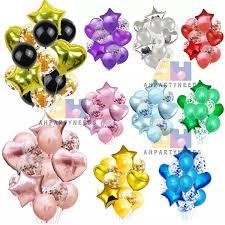 14pcs <b>balloon</b> set (<b>2pcs heart foil</b>+<b>2pcs</b> star <b>foil</b>+5pcs confitte ...