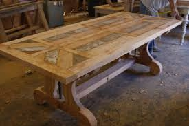 size trestle reclaimed wood dining table