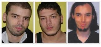 From L to R: Lamine Adam, Ibrahim Adam and Cerie Bullivant as they appeared in publicity issued after they absconded from their control orders in May 2007. - threesuspects