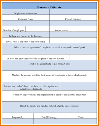 7 estimate forms itinerary template sample business estimate forms business estimate form
