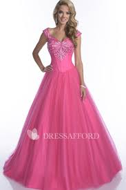 Cap-Sleeve <b>Crystal</b> Top <b>Tulle A-Line</b> Quinceanera Dress - Dress ...