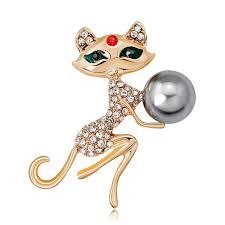 <b>Personality Fashion</b> Sweet Cute <b>Green Eye</b> Cat Brooch Wild Lady ...