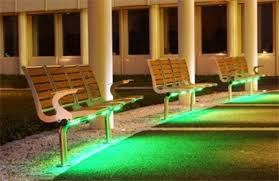 the leds require very little energy and the lighting is subdued so as to not pollute the evening sky with unnecessary illumination bench lighting