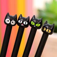 <b>4pcs</b>/lot <b>Cute</b> Kawaii <b>Lovely</b> Cartoon Animal Black <b>Cat</b> Gel Pen 0.5 ...