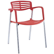 Red Plastic Stacking Chair with Chrome Legs - Kipotyrre