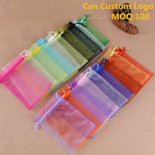 <b>100Pc</b>/<b>lot 7x9 9x12 10x15</b> 11x16cm Drawable Organza Bags ...