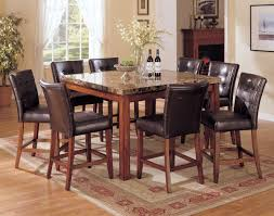 tall dining chairs counter: acme bologna  pc marble top square counter height dining table set in brown by dining rooms outlet