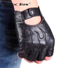 <b>NEW Genuine Leather Semi Finger</b> Gloves Male Imported Lambskin ...
