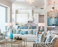 coastal decor ideas living room beach style with white and blue stripes white crown molding white beach style living room