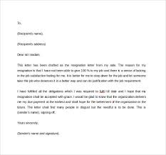 formal resignation letter      download free documents in word  pdfformal resignation letter to download in word