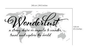 Wanderlust Travel Quote World Map Wall Art Decal ... via Relatably.com