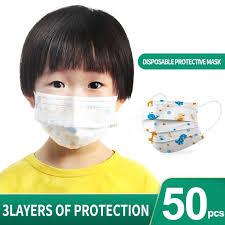 Kids 50Pcs/Pack <b>Disposable</b> Face <b>Mask</b> Children <b>3</b>-<b>Ply Anti Dust</b> ...