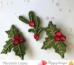 Beaded Felt Christmas Pins by Marybeth Lopez - poppystamps