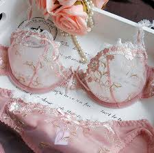 Exquisite embroidery lotus pink ultra-thin <b>women's sexy</b> transparent ...