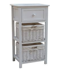 white storage unit wicker: wooden storage unit with wicker baskets and drawer white