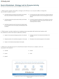 quiz worksheet biology lab for enzyme activity com which answer correctly matches two vocabulary terms associated biochemical reactions the substances used in this lesson s laboratory activity