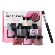 <b>7pcs</b>/<b>box 6 Jar</b> 28g Nail Dipping Powder 1 Brush Kit Super Fine No ...