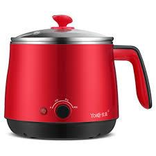 Household Dorm room <b>Electric</b> Skillet <b>Stainless Steel</b> Red Mini ...