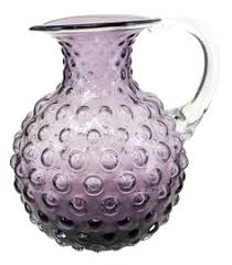 pa glass co hand blown bubble glass pitcher 045n flared top purple 1999 bubble hand blown glass