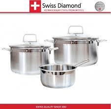 <b>Набор</b> посуды SD PS SET L3, <b>3 предмета</b> и 2 <b>крышки</b>, сталь ...