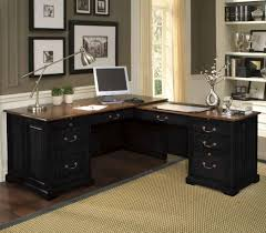 brown cabinet with elegant home office work table applied on the wooden floor with large carpet can add the beauty inside it also has modern wallpaper on add home office