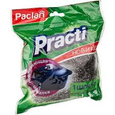 <b>Губка</b> для мытья <b>посуды</b> Paclan Practi металлическая 95х95х40 мм