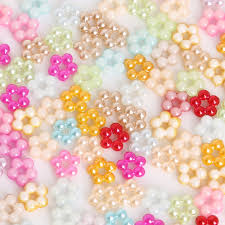 <b>Hot</b> Sell 100pcs 7/9mm Mix color Round <b>pearl flower</b> Plastic ABS ...
