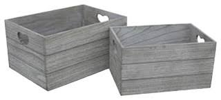 Vintage Effect Heart Cut Handle Wooden <b>Storage Crate</b>, <b>Set</b> of <b>2</b> ...