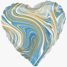 """Сердце """"Мрамор. <b>Золотая нить</b>. Агат. Голубое"""" 18''/46 см, 1 шт., с ..."""