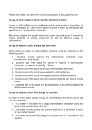 calaméo essay on deforestation great tips for students to write