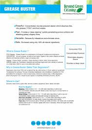 domestic cleaning products beyond green eco friendly cleaning grease buster data sheet