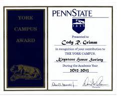 personal accomplishments 2012 2013 keystone honor society award