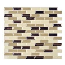 stick wall tiles quotxquot: smart tiles  pack beige glossy composite vinyl mosaic linear peel and stick