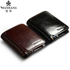 ManBang Classic Style Wallet <b>Genuine Leather Men</b> Wallets Short ...