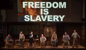 same fears different century stage adaptation of orwell s  the cast of 1984 courtesy ben gibbs american repertory