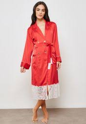 Buy Ella Red <b>Lace Hem Double Breasted</b> Robe for Women in Dubai ...