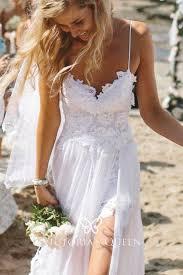 <b>White</b> Lace and Tulle Slit <b>Summer Beach Wedding</b> Dress - VQ