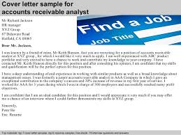 cover letter sample for accounts receivable analyst accounts receivable analyst cover letter