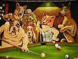 Friday's Chance POOL PLAYING DOGS Oil Painting ... - Amazon.com