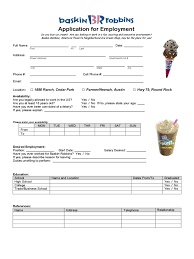 fast food and resturant job application form 23 templates baskin robbins application for employment form